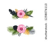 vector tropical wreaths and... | Shutterstock .eps vector #1258076113