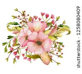 watercolor spring bouquets with ... | Shutterstock . vector #1258080409