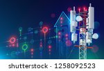5g communication tower for... | Shutterstock .eps vector #1258092523