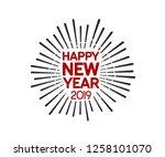 happy new year 2019. vector... | Shutterstock .eps vector #1258101070