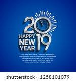 happy new year 2019. vector... | Shutterstock .eps vector #1258101079