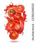 realistic tomato juice splash... | Shutterstock .eps vector #1258104010