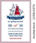 wedding marine invitation card  ... | Shutterstock .eps vector #125811074