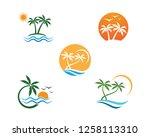 palm tree summer logo template... | Shutterstock .eps vector #1258113310