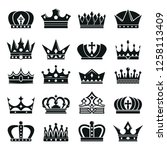 crown icons set. vector... | Shutterstock .eps vector #1258113409