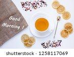 orange herbal flavored...   Shutterstock . vector #1258117069