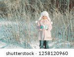 little cute smiling girl in... | Shutterstock . vector #1258120960
