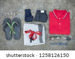 men's casual outfits with man... | Shutterstock . vector #1258126150