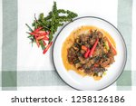 spicy fried catfish with spicy... | Shutterstock . vector #1258126186