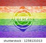 aubergine on mosaic background... | Shutterstock .eps vector #1258131013