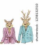 a deer head hipster couple... | Shutterstock .eps vector #1258132510