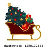 santa's sleigh with brightly... | Shutterstock .eps vector #1258132633