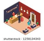 isometric artwork of a hotel... | Shutterstock .eps vector #1258134343