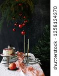 christmas table decoration with ...   Shutterstock . vector #1258134370