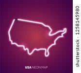 neon light map of united states | Shutterstock .eps vector #1258145980