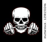 skull with barbell in teeth.... | Shutterstock . vector #1258153246