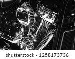 closeup of shiny chromed... | Shutterstock . vector #1258173736