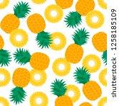 pineapples on a white... | Shutterstock .eps vector #1258185109
