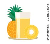 pineapple drink in a glass.... | Shutterstock .eps vector #1258185646