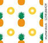 pineapple on white background.... | Shutterstock .eps vector #1258186429
