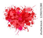 heart made of splatters  vector | Shutterstock .eps vector #1258191280