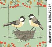 chickadee bird couple. cute... | Shutterstock . vector #1258191289