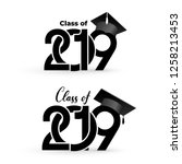 class of 2019 with graduation... | Shutterstock .eps vector #1258213453