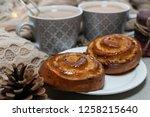 tasty breakfast close up. tasty ...   Shutterstock . vector #1258215640