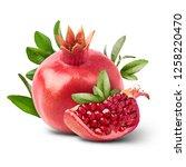 fresh ripe pomegranate with... | Shutterstock . vector #1258220470
