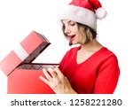 young woman with christmas... | Shutterstock . vector #1258221280
