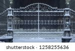 Snow Covered Iron Gates. Winter ...