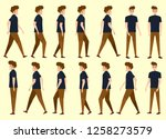 collection set of man walking.... | Shutterstock .eps vector #1258273579
