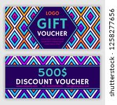 gift voucher template. vector... | Shutterstock .eps vector #1258277656