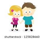 kids holding hands | Shutterstock .eps vector #125828660