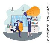 businesswomen with light bulbs...   Shutterstock .eps vector #1258288243