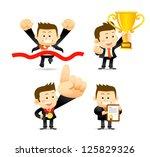 victorious businessman | Shutterstock .eps vector #125829326