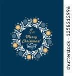 christmas greeting navy blue...   Shutterstock .eps vector #1258312996