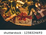 christmas tree decoration with... | Shutterstock . vector #1258324693
