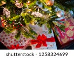 christmas tree decoration with... | Shutterstock . vector #1258324699