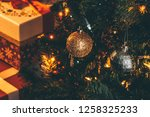 christmas tree decoration with... | Shutterstock . vector #1258325233