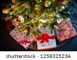 christmas tree decoration with... | Shutterstock . vector #1258325236