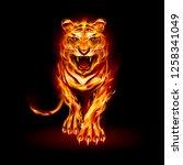 illustration of big fire tiger...   Shutterstock .eps vector #1258341049