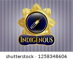 golden badge with syringe icon ... | Shutterstock .eps vector #1258348606