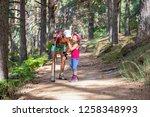 mountaineer little child... | Shutterstock . vector #1258348993