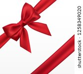 realistic red bow. element for... | Shutterstock .eps vector #1258349020