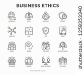 business ethics thin line icons ... | Shutterstock .eps vector #1258353340