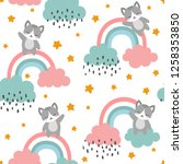 cat seamless pattern background ... | Shutterstock .eps vector #1258353850