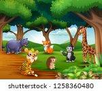 animals cartoon are enjoying... | Shutterstock .eps vector #1258360480