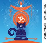 abstract meditating cat in a...   Shutterstock .eps vector #1258363939
