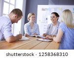young people studying with... | Shutterstock . vector #1258368310